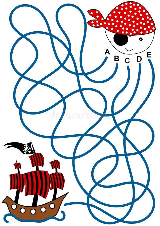 Labyrinthe de bateau de pirate illustration stock