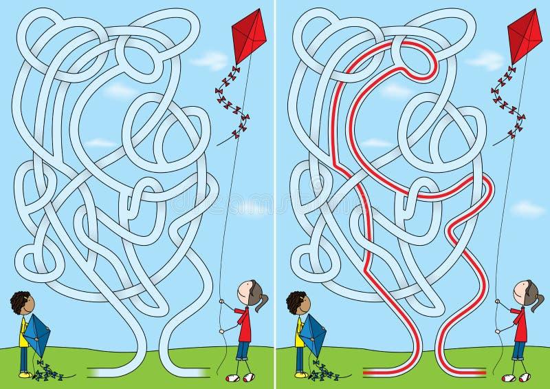 Labyrinthe de cerf-volant illustration libre de droits