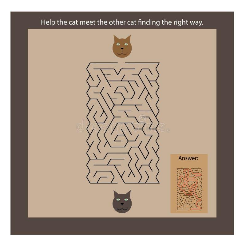 Labyrinthe de chats pour des enfants illustration de vecteur