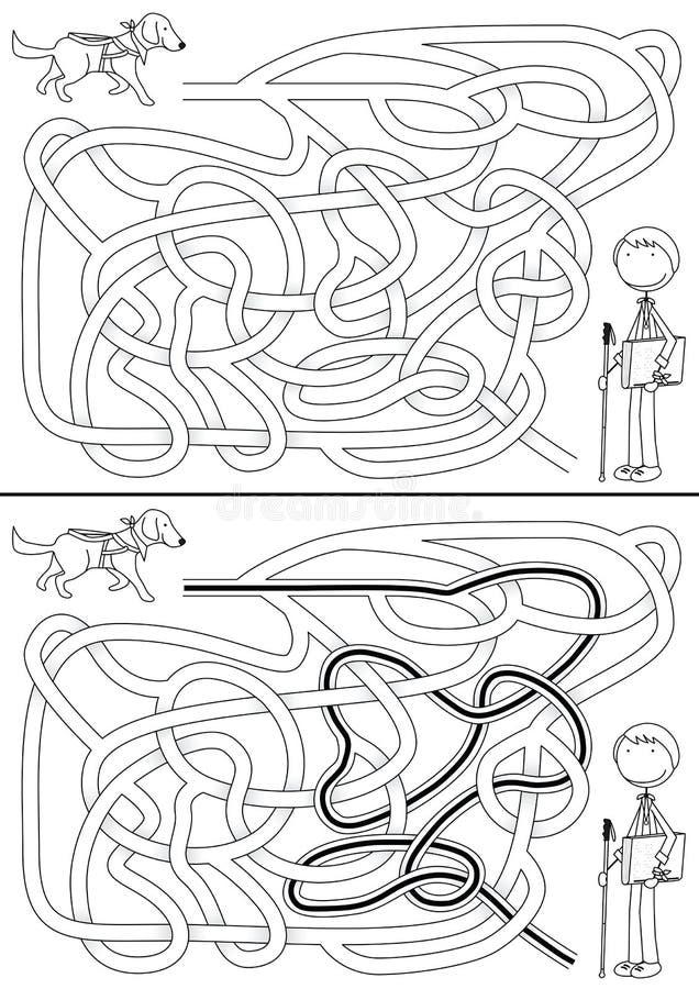 Labyrinthe de chien de guide illustration stock