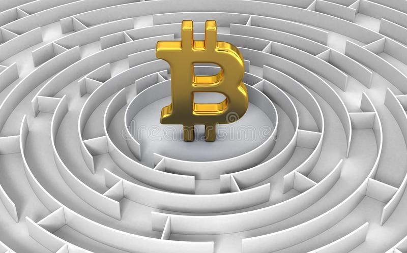 Labyrinthe de connexion de Bitcoin illustration de vecteur