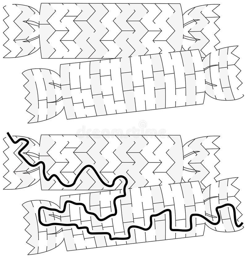 Labyrinthe de crakers de Noël illustration de vecteur