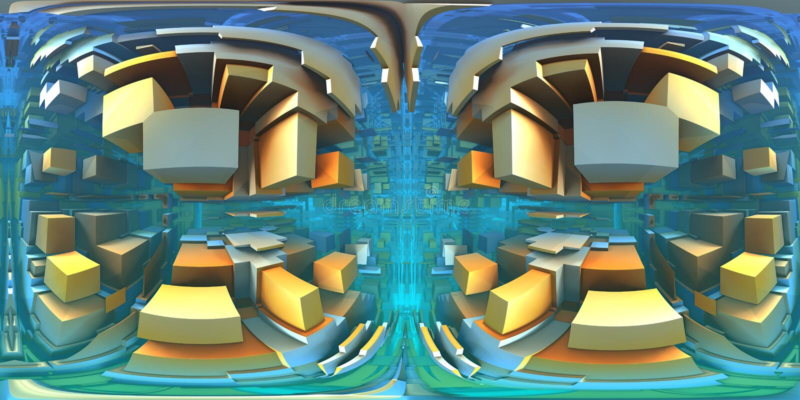 labyrinthe de 360 degrés, panorama abstrait de fond de labyrinthe, projection equirectangular, carte d'environnement illustration de vecteur