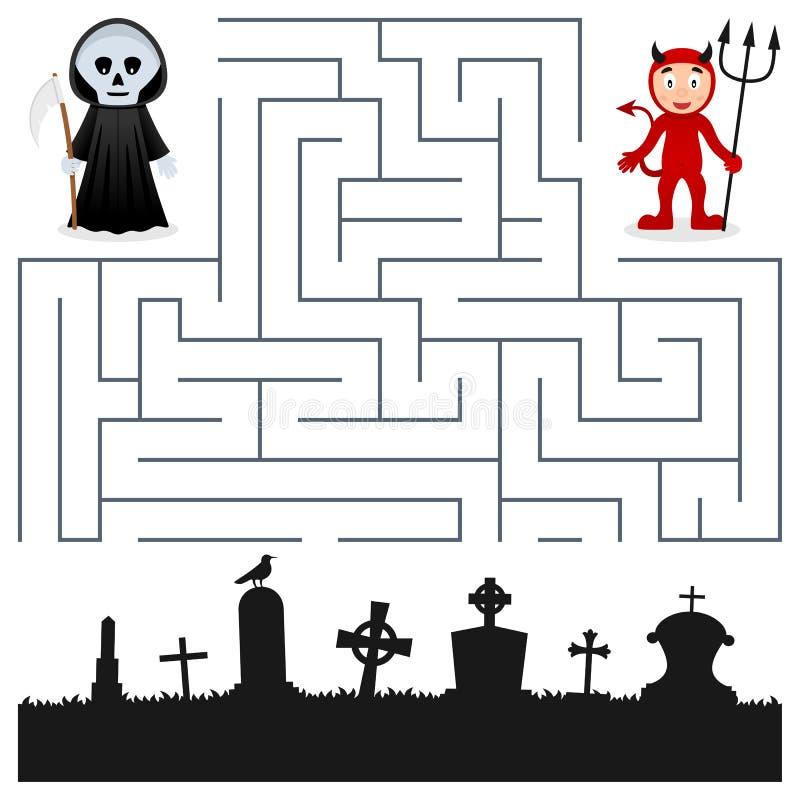 Labyrinthe de Halloween - faucheuse et diable illustration de vecteur