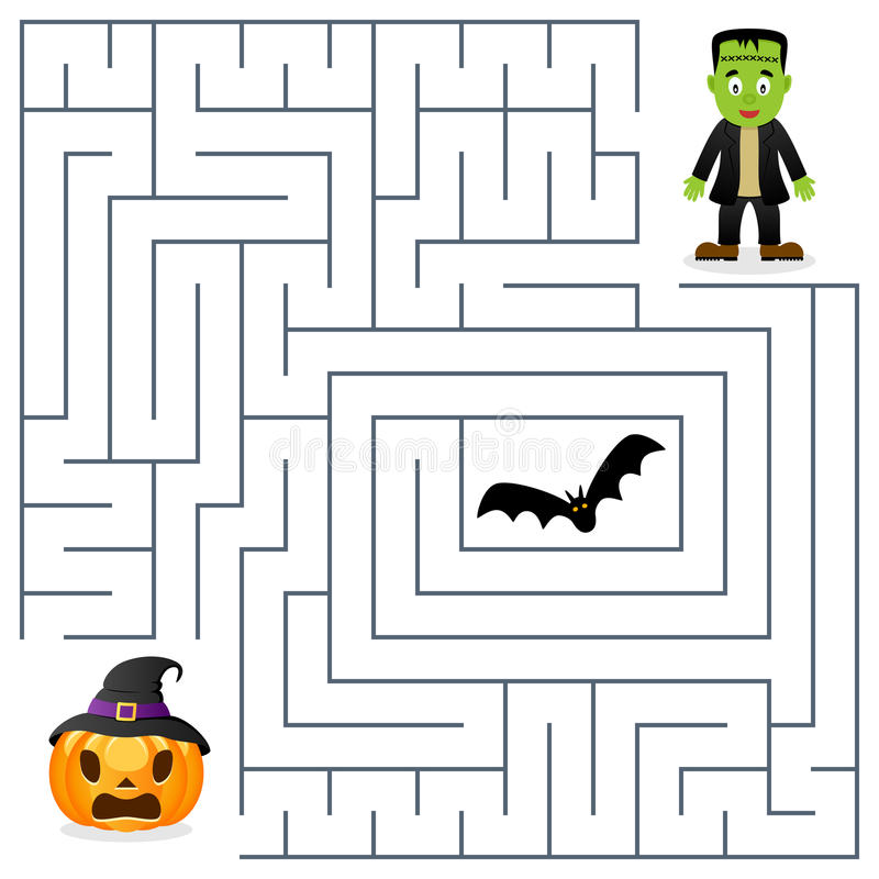 Labyrinthe de Halloween - Frankenstein et potiron illustration libre de droits