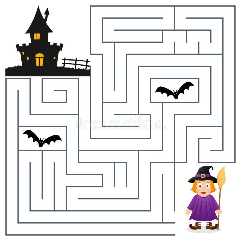 Labyrinthe de Halloween - sorcière et Chambre hantée illustration libre de droits