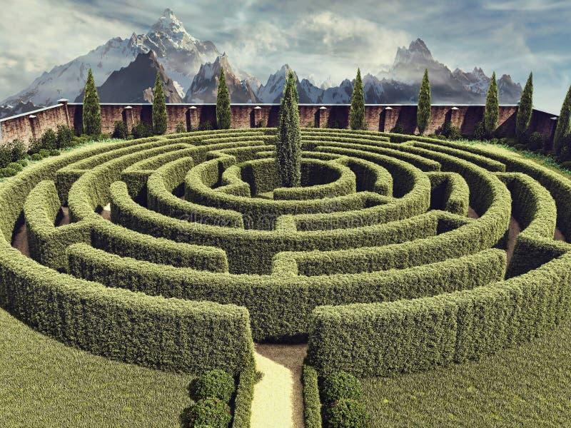 Labyrinthe de jardin d'imagination illustration libre de droits