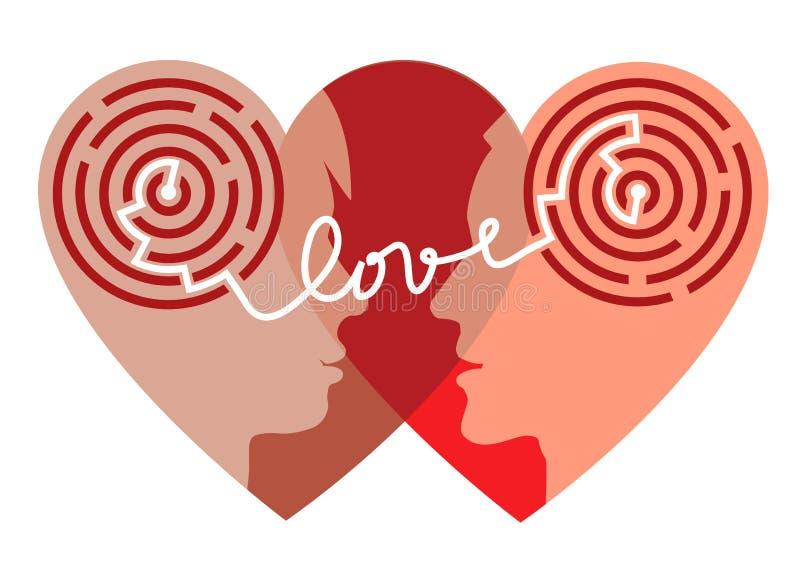 Labyrinthe de l'amour illustration libre de droits