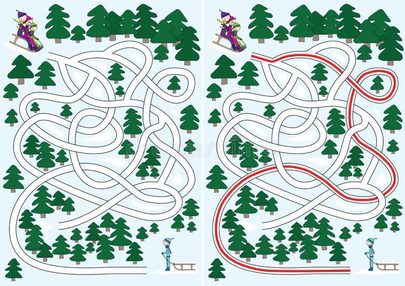 Labyrinthe de l'hiver illustration stock