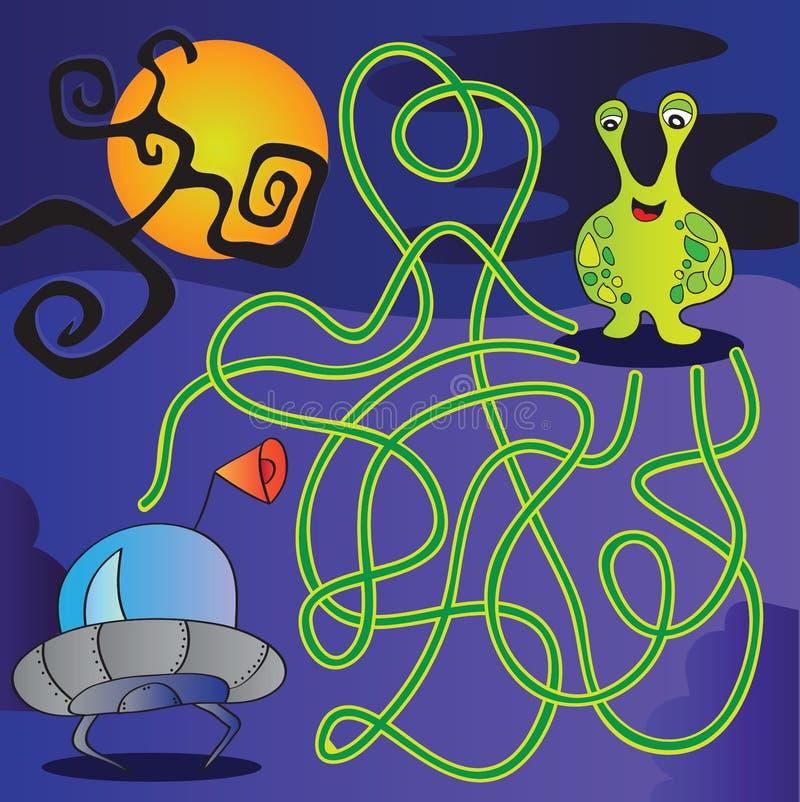 Labyrinthe de monstre d'UFO - illustration de vecteur illustration stock