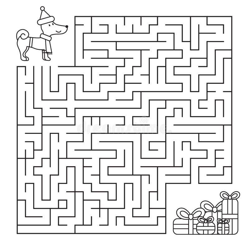 Labyrinthe de Noël pour des enfants, chien drôle recherchant des cadeaux image stock