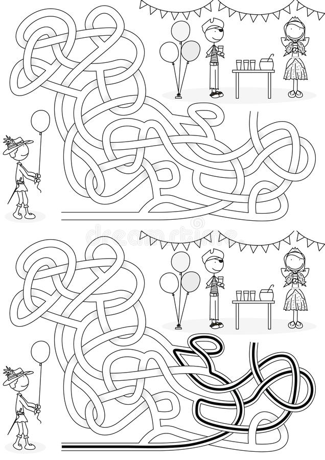 Labyrinthe de partie de costume illustration stock