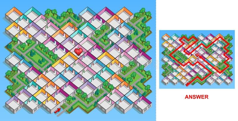 Labyrinthe de pièce pour des enfants (durs) illustration libre de droits