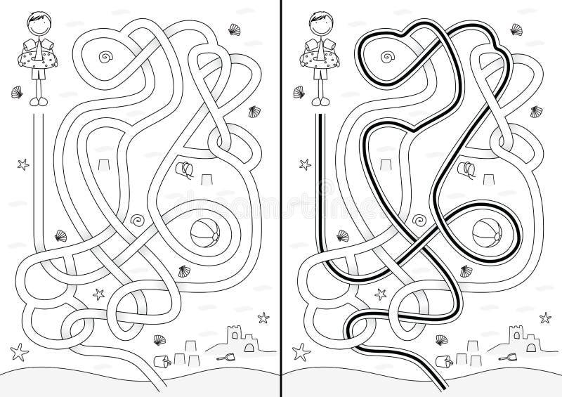 Labyrinthe de plage illustration libre de droits