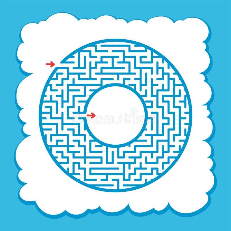 Labyrinthe de rond de couleur Jeu pour des gosses Puzzle pour des enfants Une entrée, une sortie Énigme de labyrinthe Illustratio illustration de vecteur