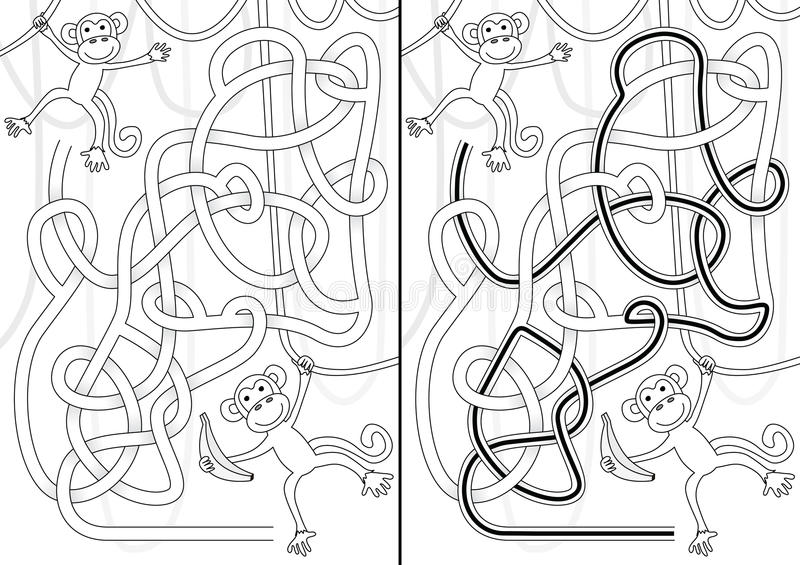 Labyrinthe de singe illustration libre de droits