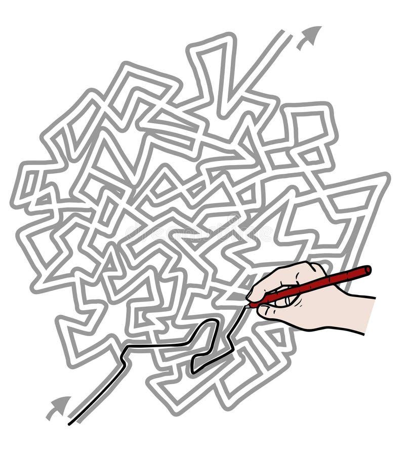 Labyrinthe de solution illustration libre de droits