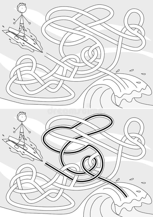 Labyrinthe de surfer illustration libre de droits