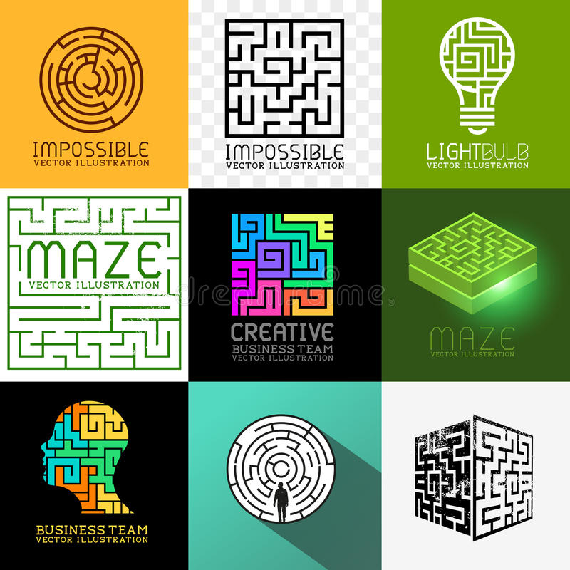 Labyrinthe de vecteur et collection de puzzle illustration stock