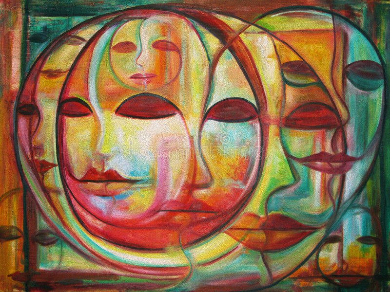 Labyrinthe des visages illustration libre de droits