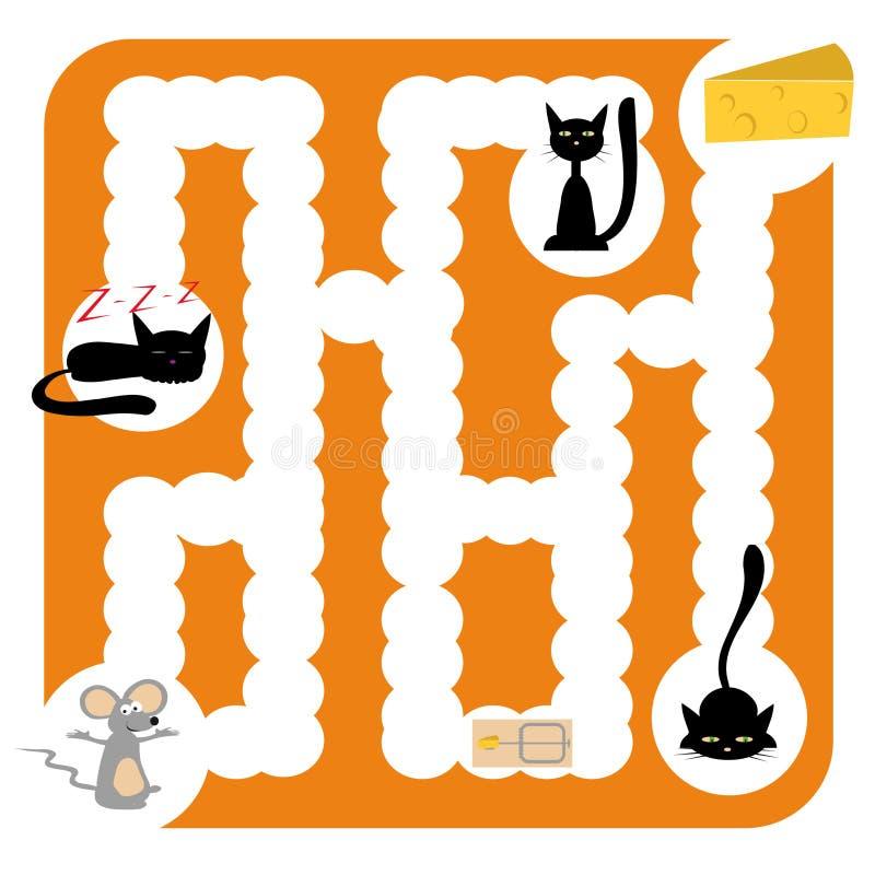 Labyrinthe drôle avec des chats illustration de vecteur