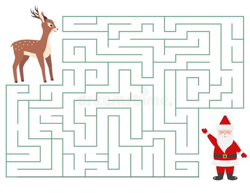 Labyrinthe drôle de Noël pour des enfants photographie stock libre de droits