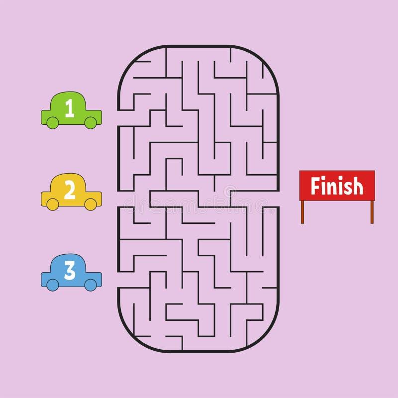 Labyrinthe drôle Jeu pour des gosses Puzzle pour des enfants Type de dessin animé Énigme de labyrinthe Illustration de vecteur de illustration de vecteur