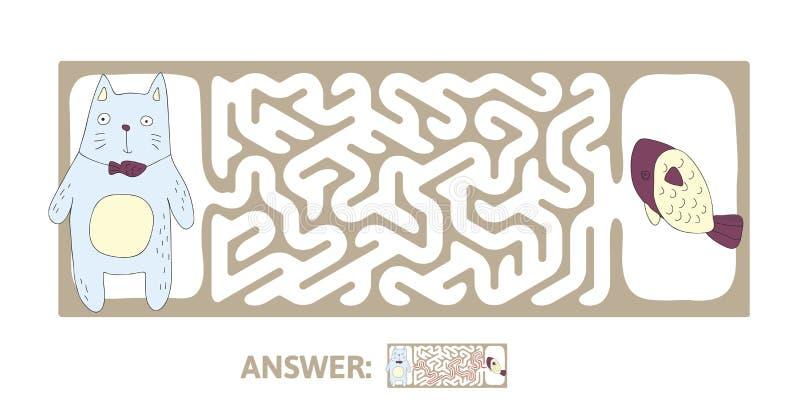Labyrinthe du ` s d'enfants avec le chat et les poissons Déconcertez le jeu pour des enfants, illustration de labyrinthe de vecte illustration stock