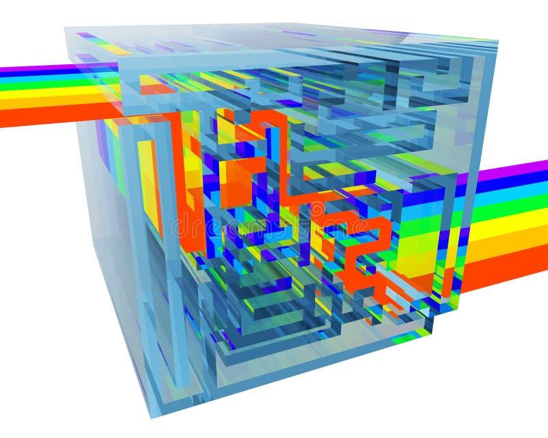 Labyrinthe en cristal bleu avec un arc-en-ciel à l'intérieur illustration stock