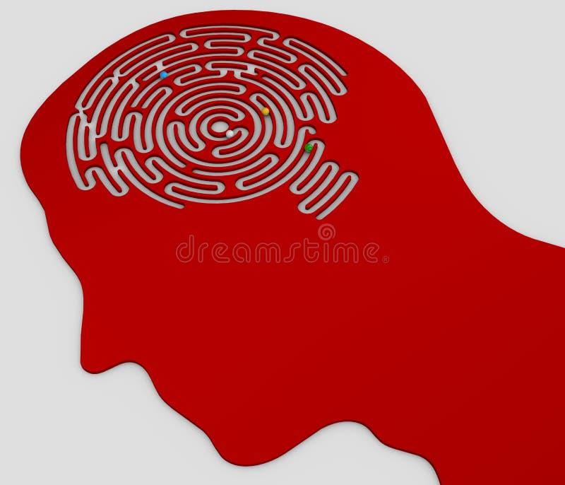 labyrinthe en forme de cerveau à l'intérieur de la tête d'un profil illustration stock