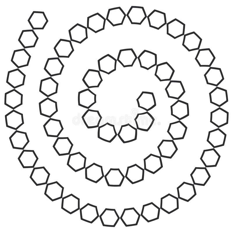 Labyrinthe en spirale futuriste abstrait, calibre de modèle pour des jeux du ` s d'enfants, découpe noire d'hexagones blancs d'is illustration libre de droits