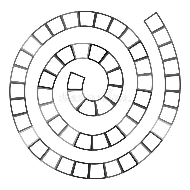 Labyrinthe en spirale futuriste abstrait, calibre de modèle pour des jeux du ` s d'enfants, découpe noire de places blanches d'is illustration stock