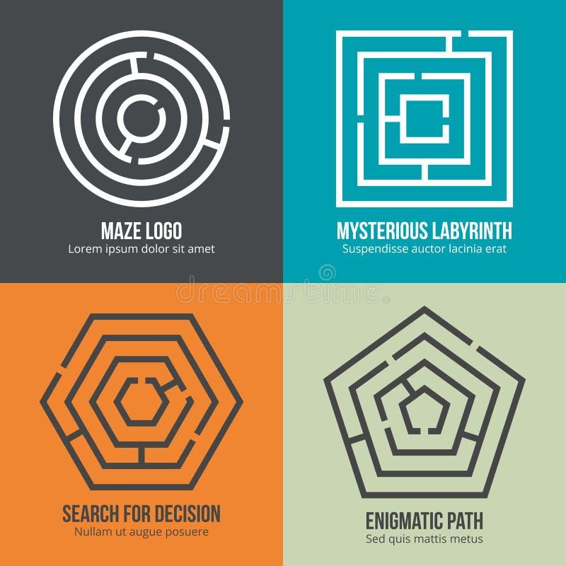 Labyrinthe, ensemble de vecteur de conception de logo de forme de labyrinthe illustration stock