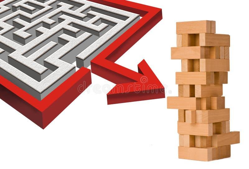 Labyrinthe et blocs photographie stock