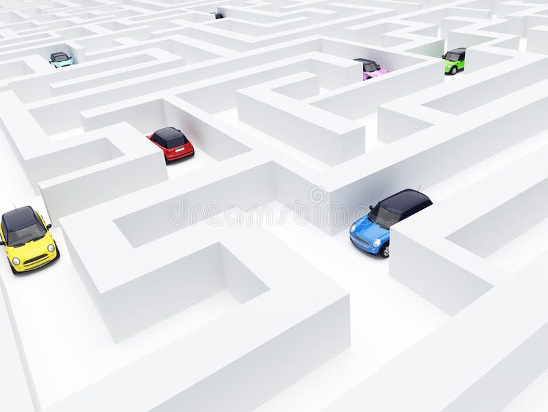 Labyrinthe et véhicules illustration stock