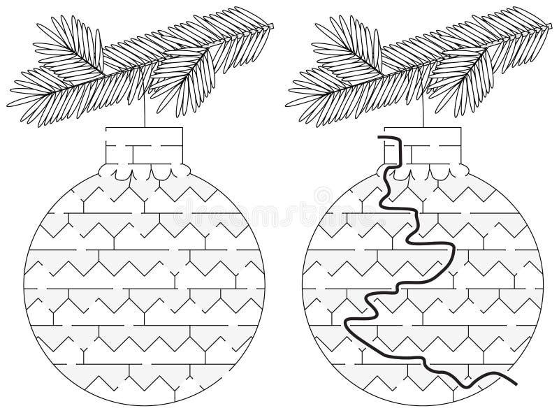Labyrinthe facile d'ornement de Noël illustration stock