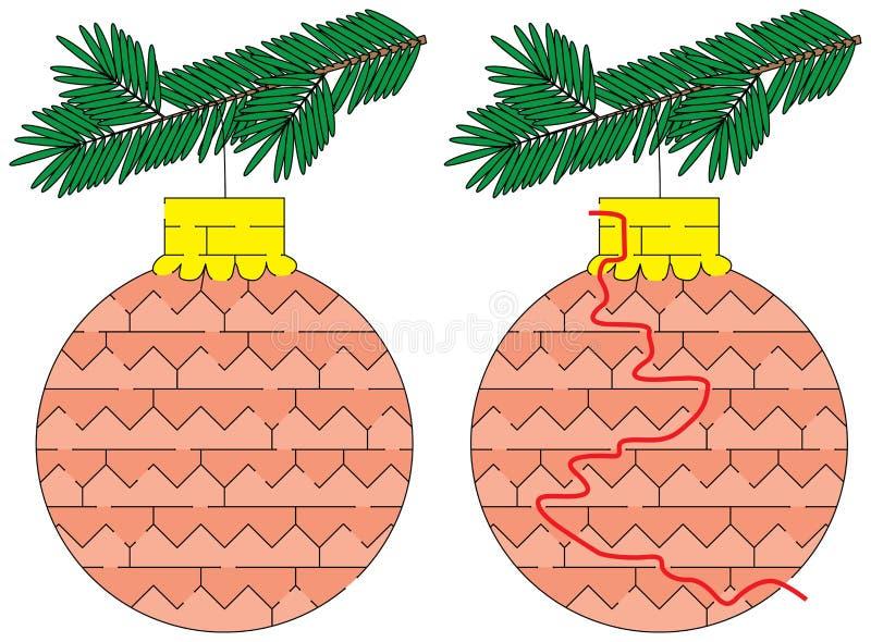 Labyrinthe facile d'ornement de Noël illustration libre de droits