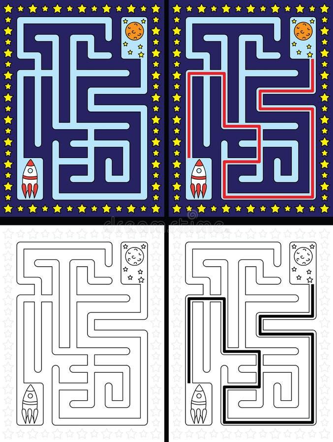 Download Labyrinthe facile de fusée illustration de vecteur. Illustration du solution - 76084912