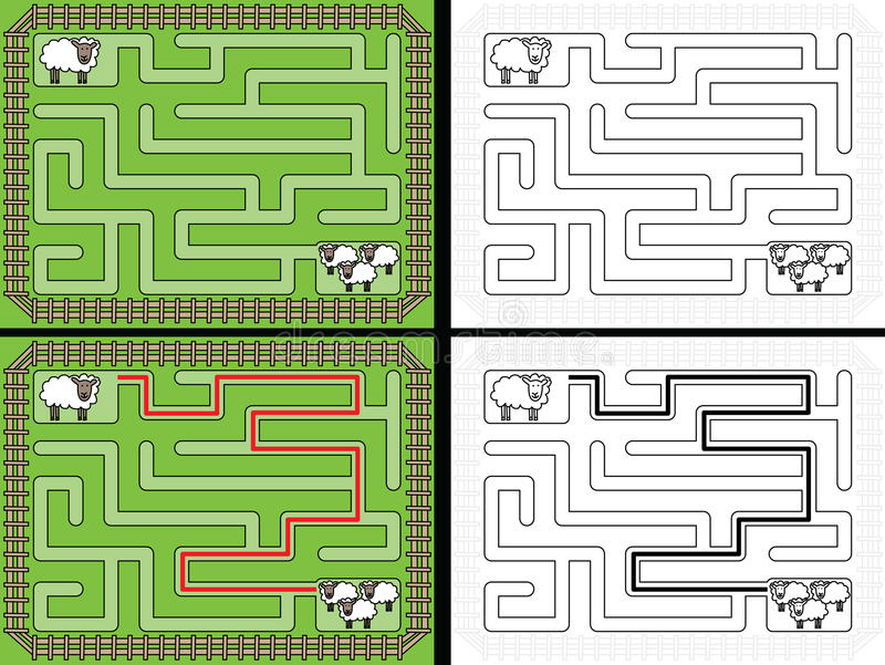 Download Labyrinthe Facile De Moutons Illustration de Vecteur - Illustration du composition, éducation: 76084968