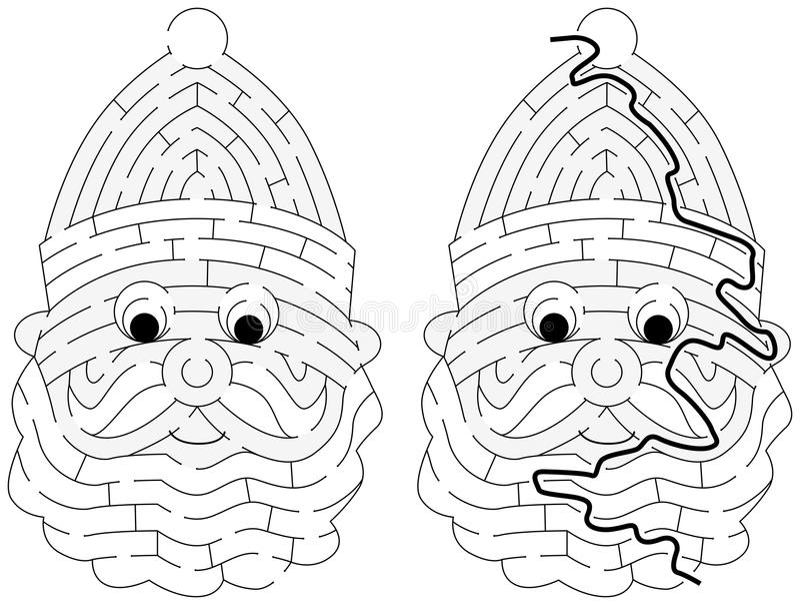 Labyrinthe facile de Santa Claus illustration libre de droits