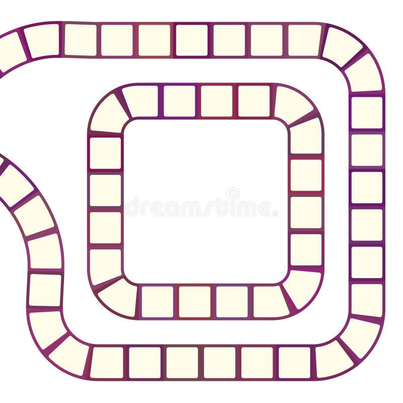 Labyrinthe futuriste abstrait, calibre en spirale de modèle pour des jeux du ` s d'enfants, découpe marron rouge de places roses  illustration stock