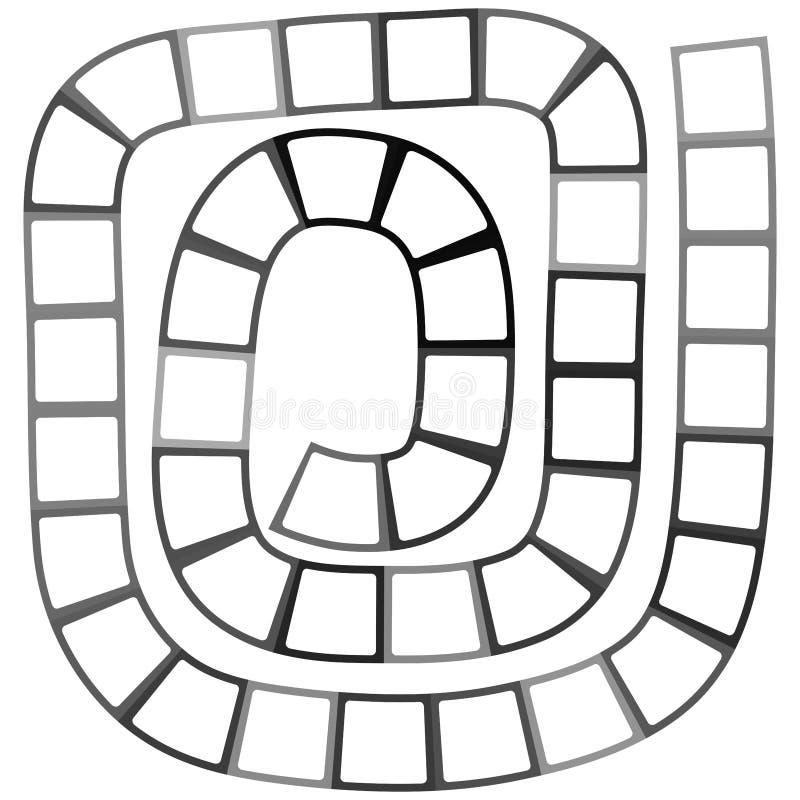 Labyrinthe futuriste abstrait, calibre en spirale de modèle pour des jeux du ` s d'enfants, découpe noire de places blanches d'is illustration de vecteur