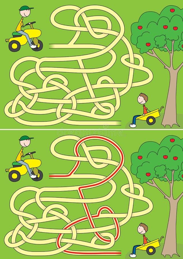 Labyrinthe heureux de garçons illustration libre de droits