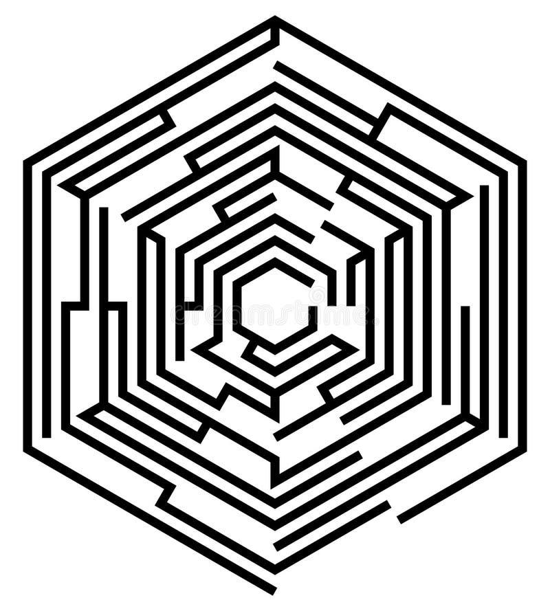 Labyrinthe hexagonal illustration stock