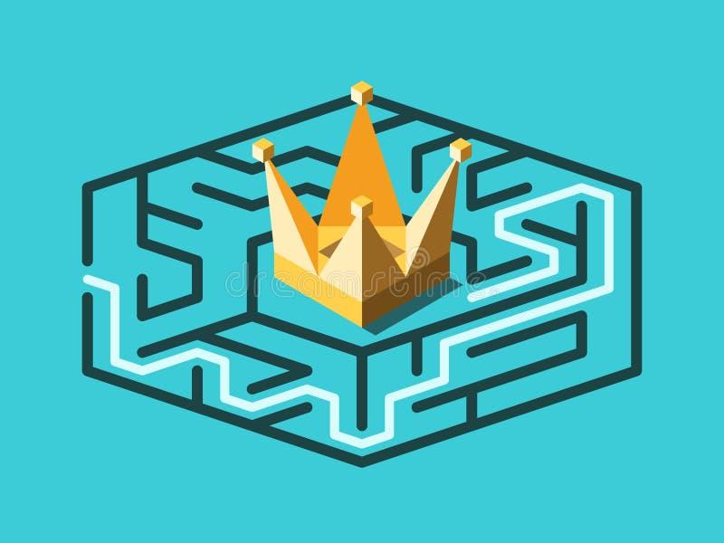 Labyrinthe isométrique, couronne, solution illustration libre de droits