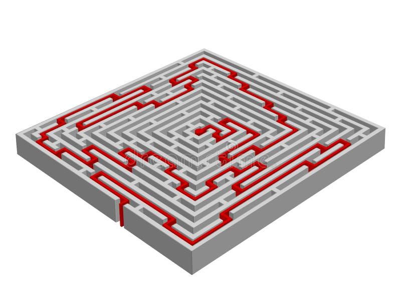 labyrinthe/labyrinthe effectué avec l'effet 3D illustration de vecteur