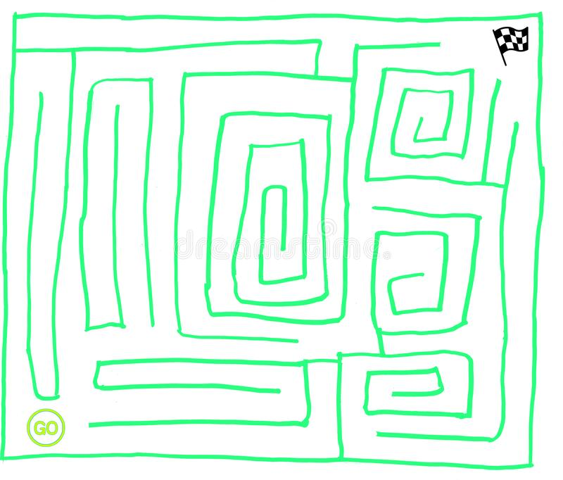 Labyrinthe numéro sept, vert très facile et fluorescent, graphique de vecteur illustration libre de droits