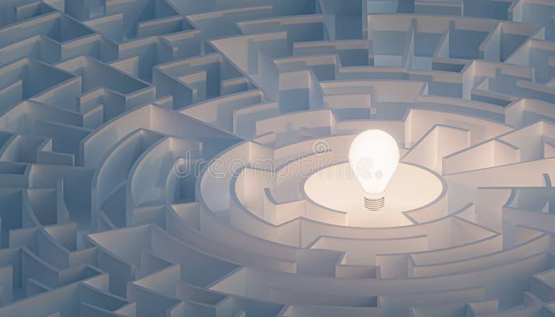 Labyrinthe ou labyrinthe circulaire avec l'ampoule à son centre Puzzle, énigme, intelligence, pensant, solution, concepts de QI illustration stock