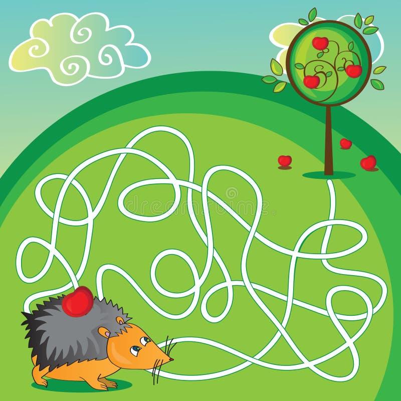 Labyrinthe pour des enfants - aidez le hérisson à obtenir au illustration stock