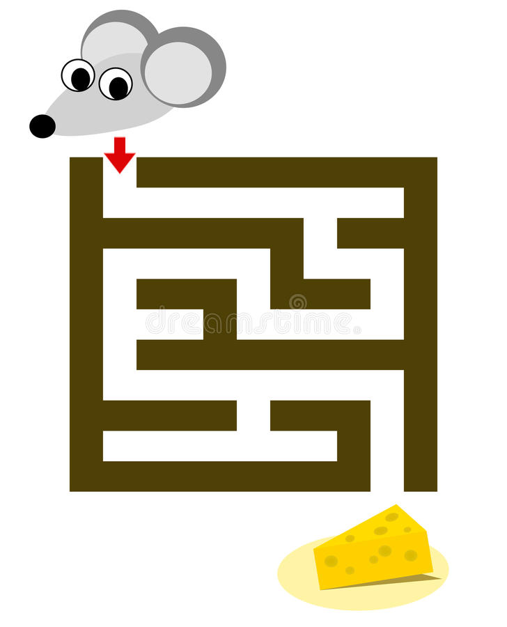 Labyrinthe pour des enfants avec la souris et le fromage illustration de vecteur